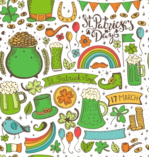 Set of St. Patricks Day - Decorative Symbols Decorative