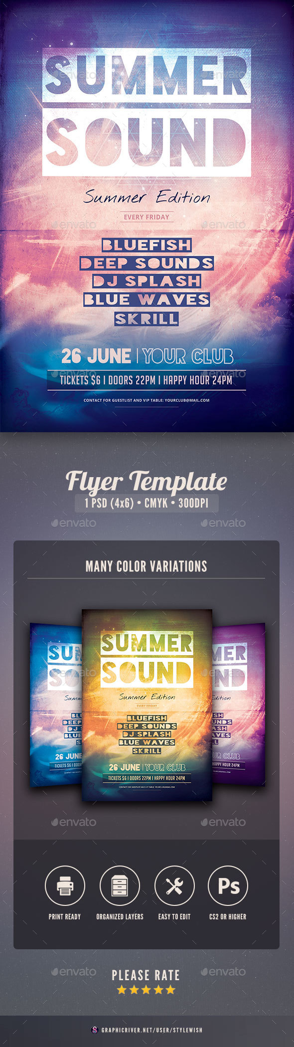 Summer Sound Flyer - Clubs & Parties Events