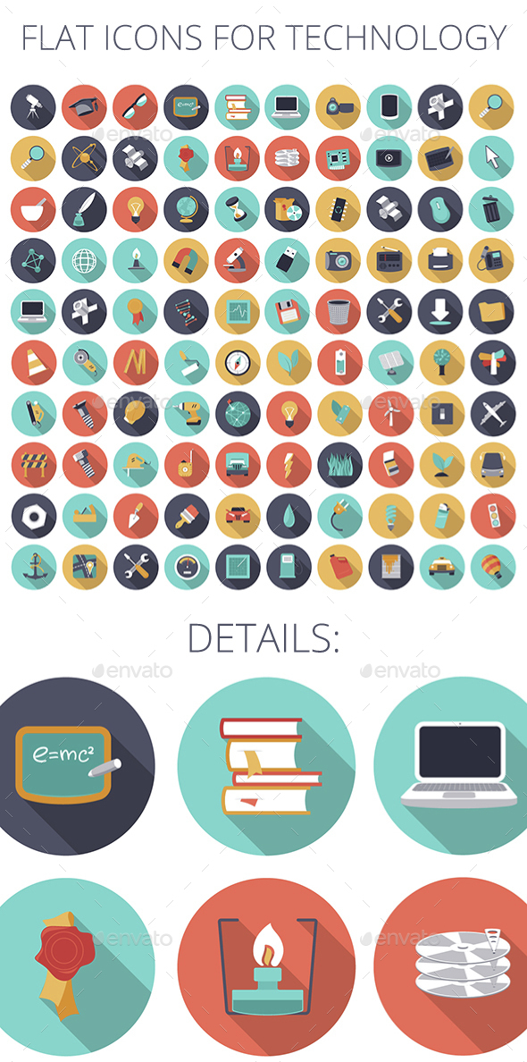 Flat Design Icons for Technology, Science and Industrial - Technology Icons