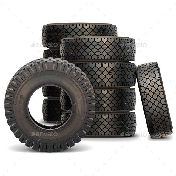 Vector Old Truck Tire Set - Industries Business