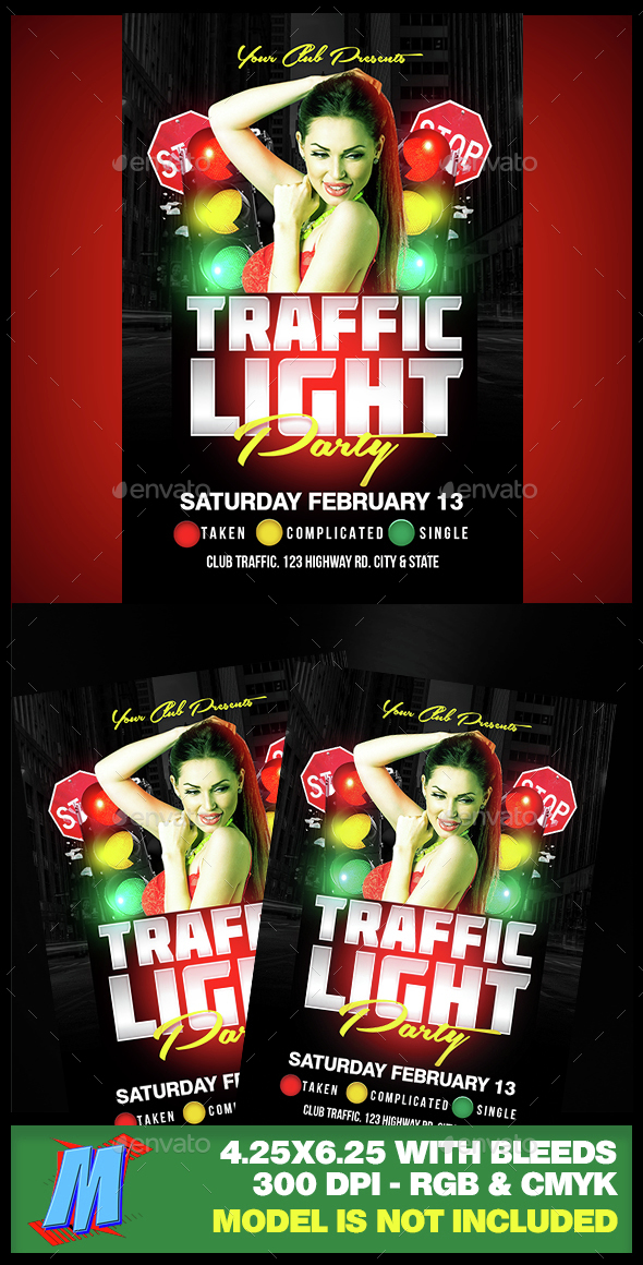 Traffic Light Party Flyer Template By Megakidgfx  Graphicriver
