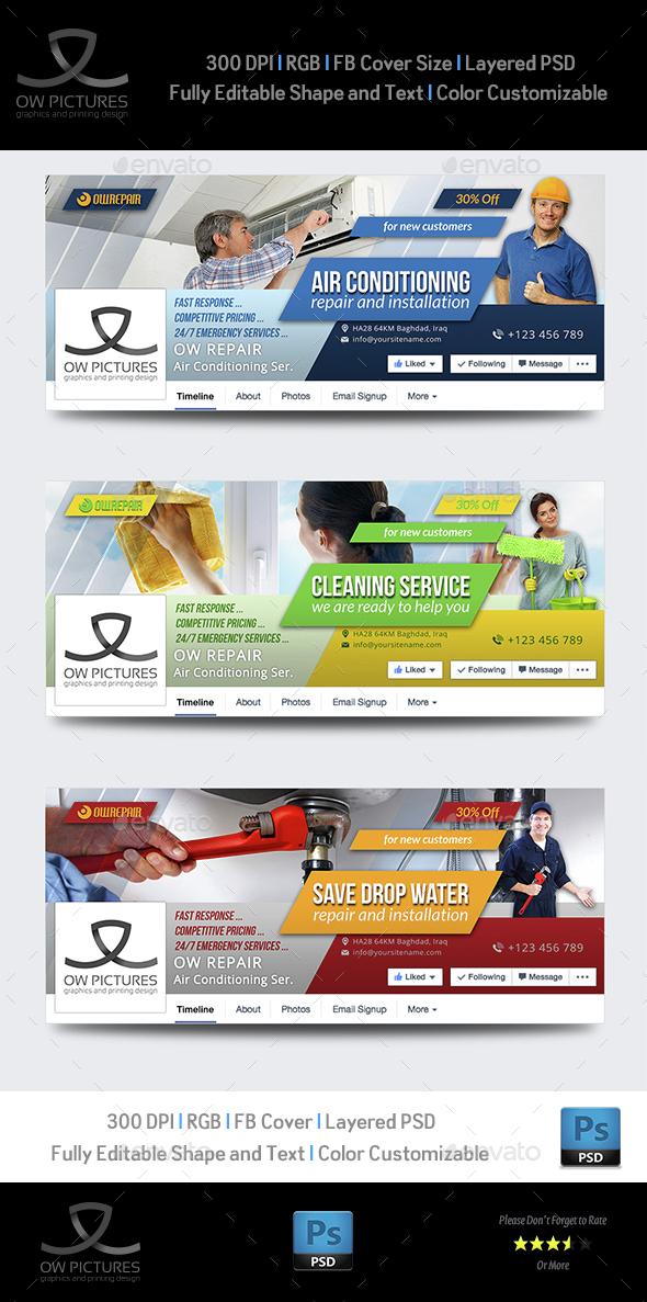 Multi Purpose Services Facebook Timeline Covers - 3 Covers - Facebook Timeline Covers Social Media