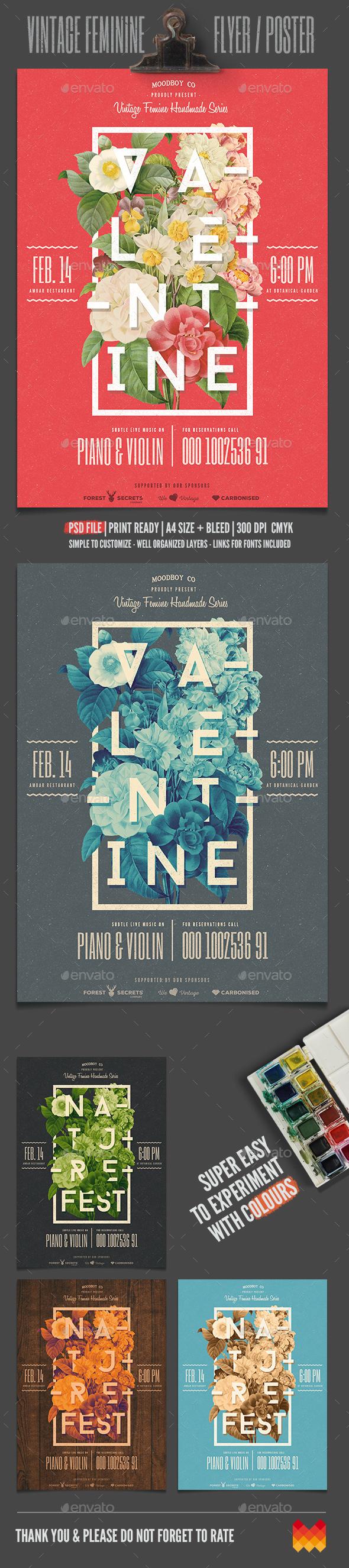 Vintage Feminine Flyer/Poster - Events Flyers