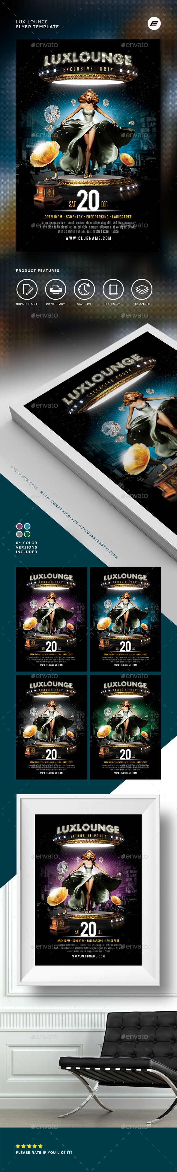 Lux Lounge Flyer Template   Events Flyers