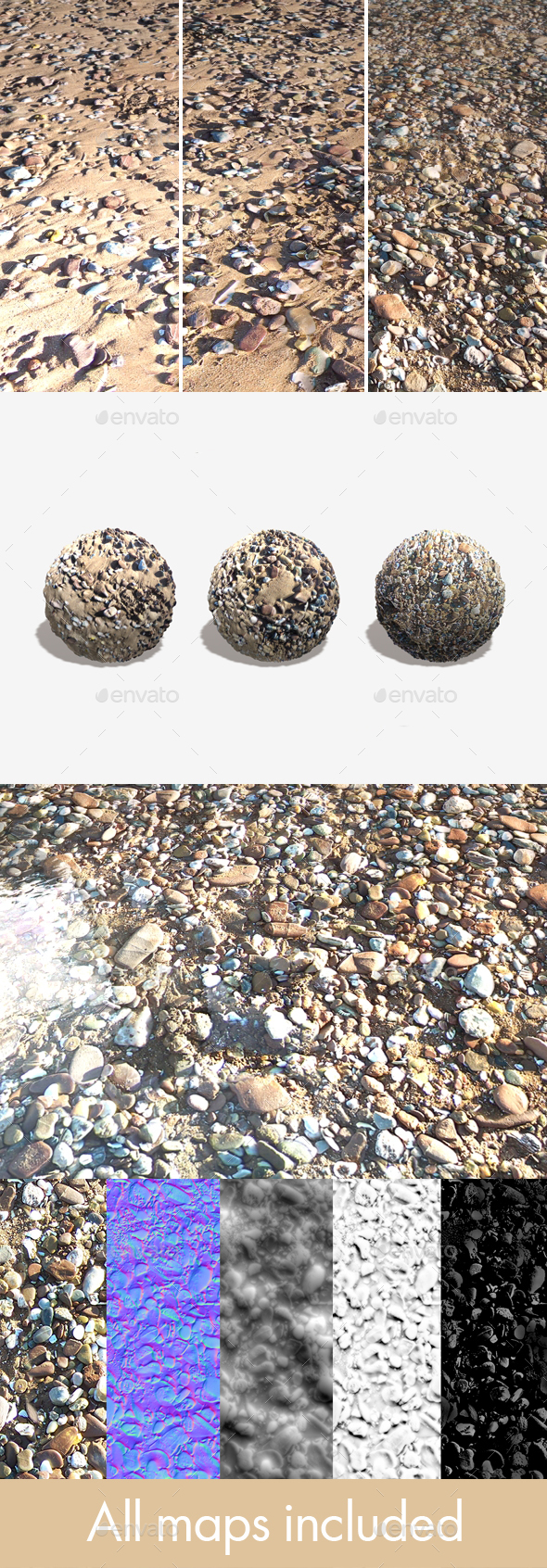 3 Sandy Beach Seamless Textures - 3DOcean Item for Sale