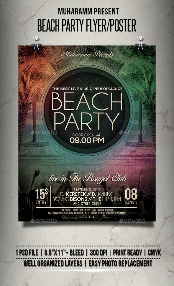 Beach Party Flyer / Poster - Clubs & Parties Events