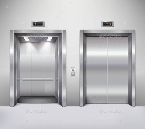 Elevator Door Illustration - Decorative Symbols Decorative