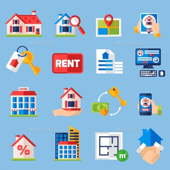 Rent and Tenancy Icons Set - Industries Business