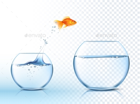 Goldfish Jumps Out of Water Bowl - Miscellaneous Vectors