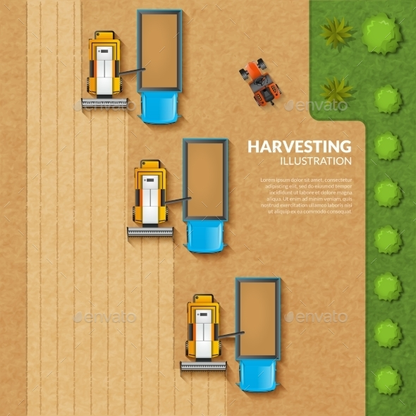 Harvesting Top View Illustration - Industries Business