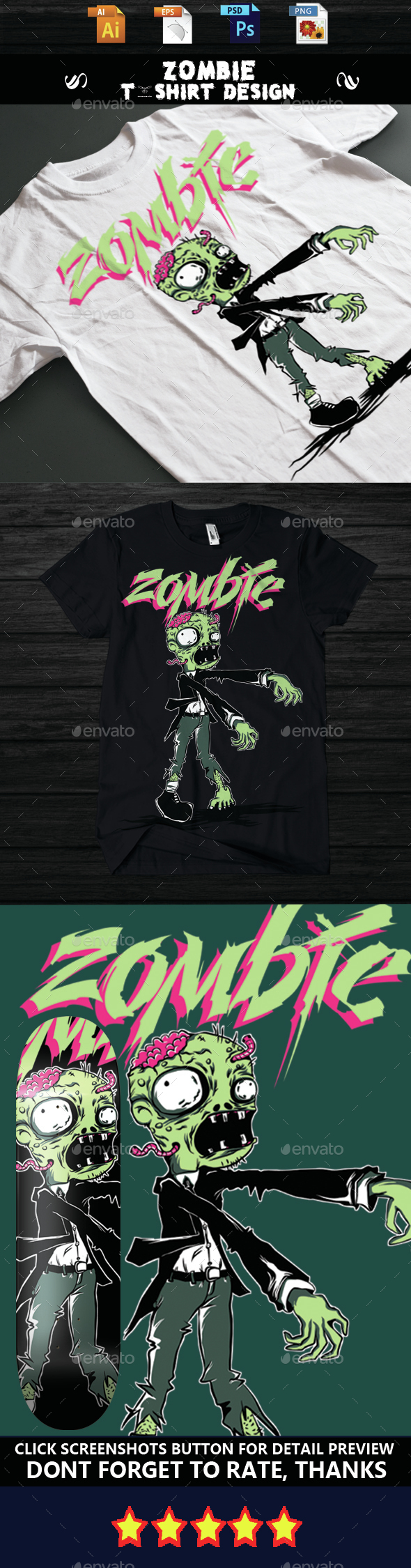 Zombie T-shirt Design - Funny Designs
