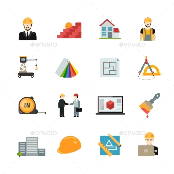 Architect Icons Set - Buildings Objects