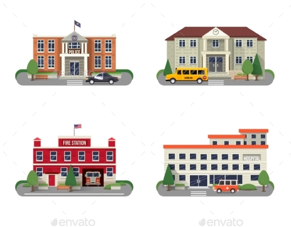 Municipal Buildings Set - Buildings Objects