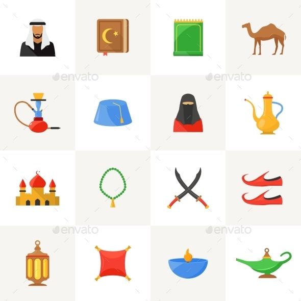 Arabic Culture Icons Set - Abstract Icons