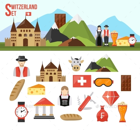 Switzerland Symbols Set - Travel Conceptual