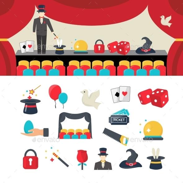 Magician Icons Set - Decorative Symbols Decorative