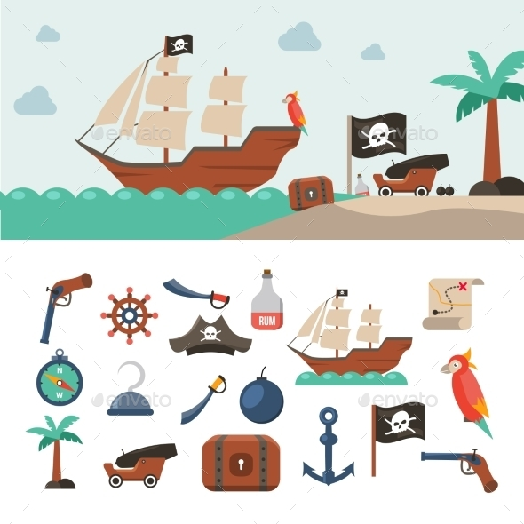 Pirate Icons Set - Miscellaneous Conceptual