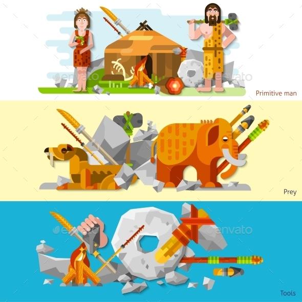 Prehistoric Stone Age Caveman Banners - Miscellaneous Vectors
