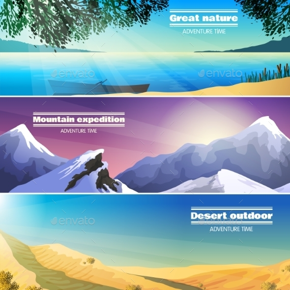 Camping Landscapes 3 Flat Banners Set - Landscapes Nature