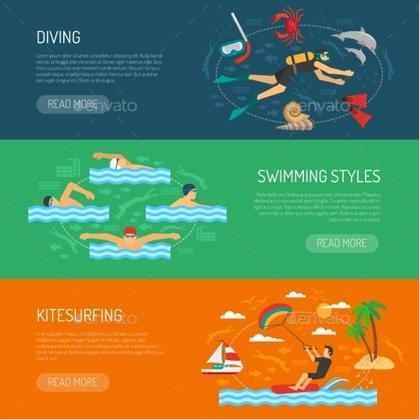 Water Sport Horizontal Banners - Sports/Activity Conceptual