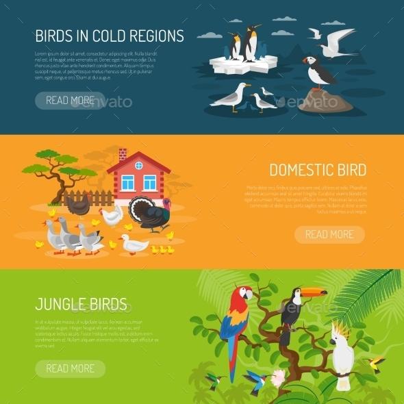 Bird Horizontal Banners Set - Animals Characters