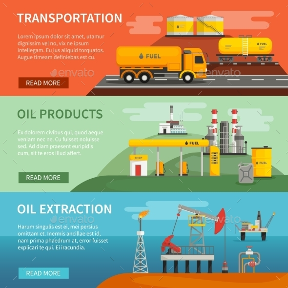 Banners Set Oil Petrol Industry - Concepts Business