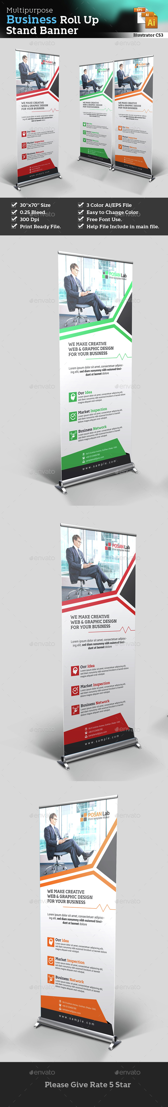 Corporate Roll Up Stand Banner - Corporate Business Cards
