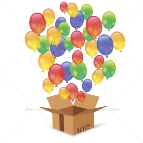Cardbox And Colorful Balloons - Christmas Seasons/Holidays