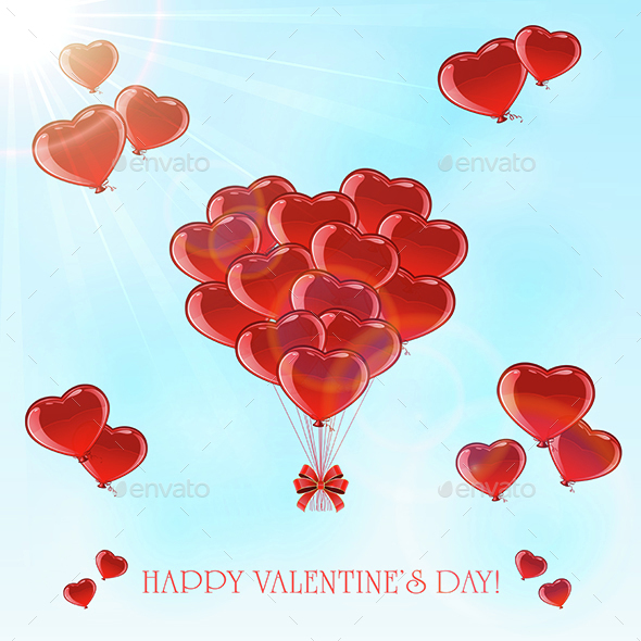 Valentines Balloons in the Sky - Valentines Seasons/Holidays