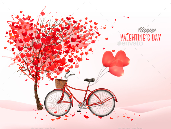 Valentines Day Background With A Heart Shaped Tree Vector - Valentines Seasons/Holidays