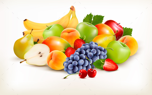 Fresh Juicy Fruit And Berries Isolated On White Background. Vector - Food Objects