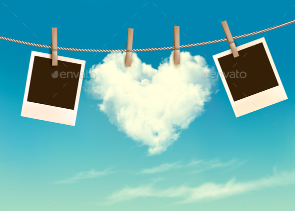 Heart Shaped Cloud On Rope And Photos Valentines Vector - Valentines Seasons/Holidays
