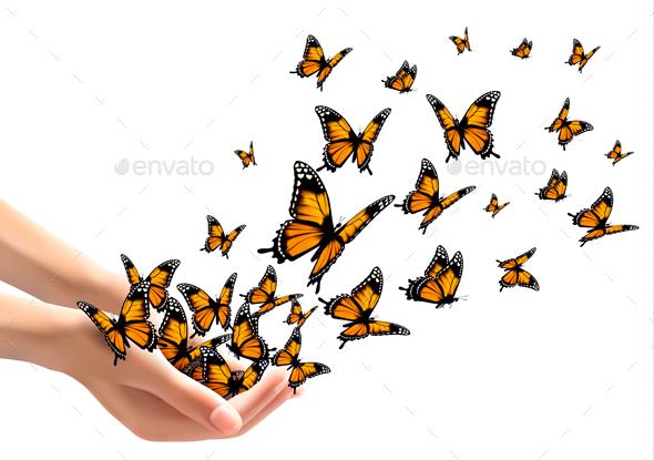 Hands Releasing Butterflies Vector - Animals Characters