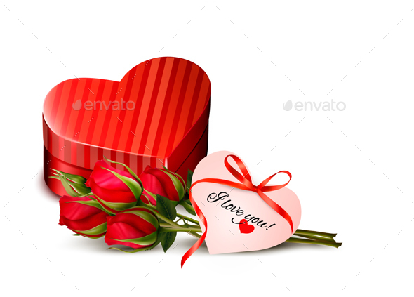 Holiday Valentines Day Background Red Roses Vector - Valentines Seasons/Holidays