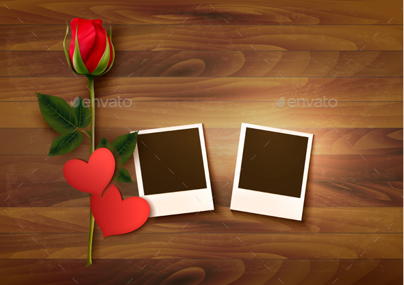 Valentines Day Background With Photos And Flowers - Valentines Seasons/Holidays