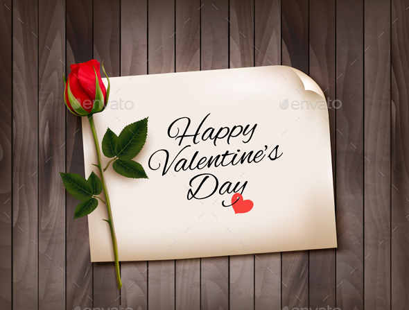 Happy Valentines Day Background With A Note  Vector - Valentines Seasons/Holidays