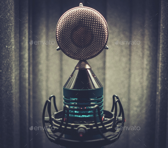 Extra high definition microphone at boutique recording studio. - Stock Photo - Images