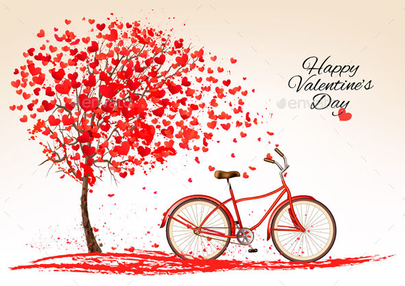 Valentines Day Background With A Bike And A Tree Vector - Valentines Seasons/Holidays