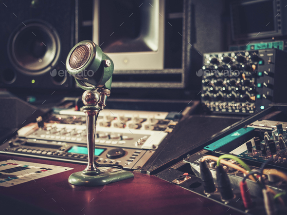 Close-up of boutique recording studio control desk. - Stock Photo - Images
