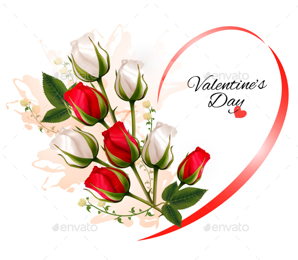 Valentines Day Background With A Bouquet Of Flowers - Weddings Seasons/Holidays