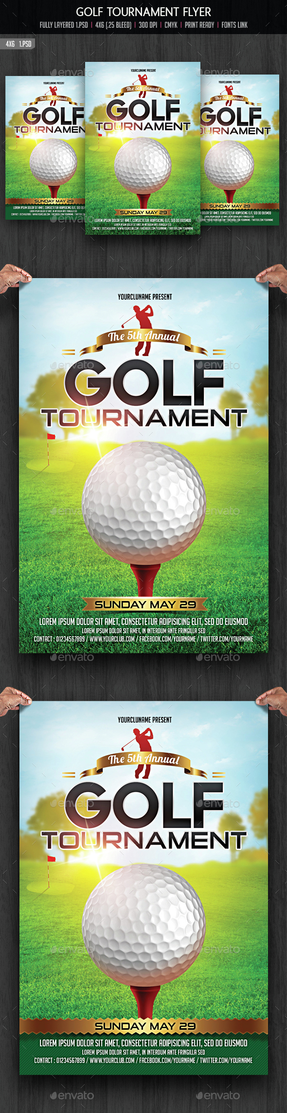 Golf tournament flyer by creativeartx graphicriver for Golf tournament program template