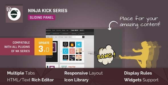 Ninja Kick: Sliding Panel for WordPress - CodeCanyon Item for Sale