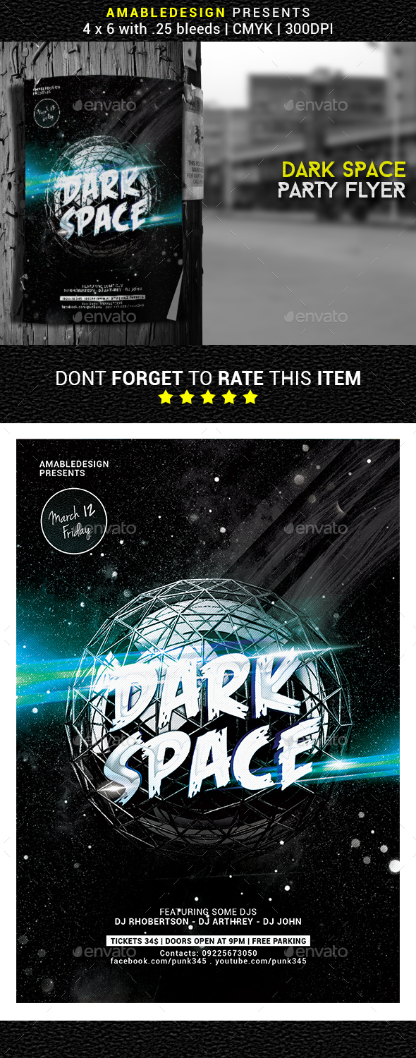 Dark Space Party Flyer - Clubs & Parties Events