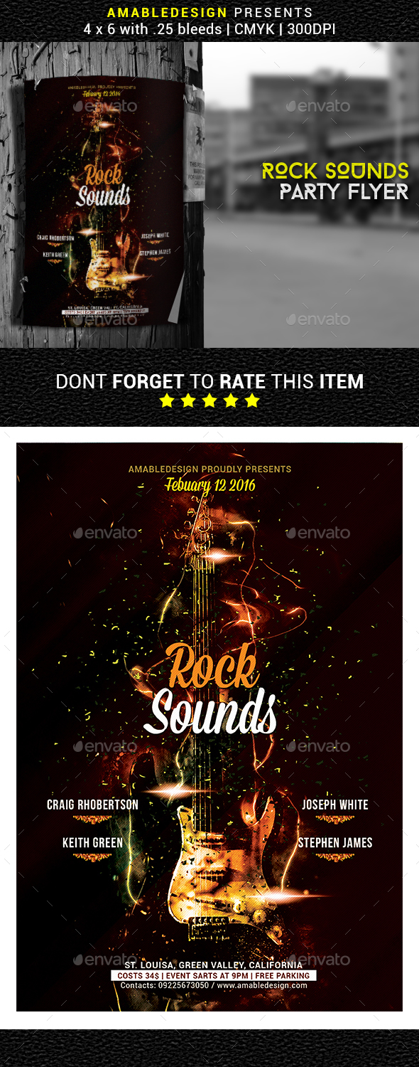 Rock Sounds Party Flyer - Clubs & Parties Events