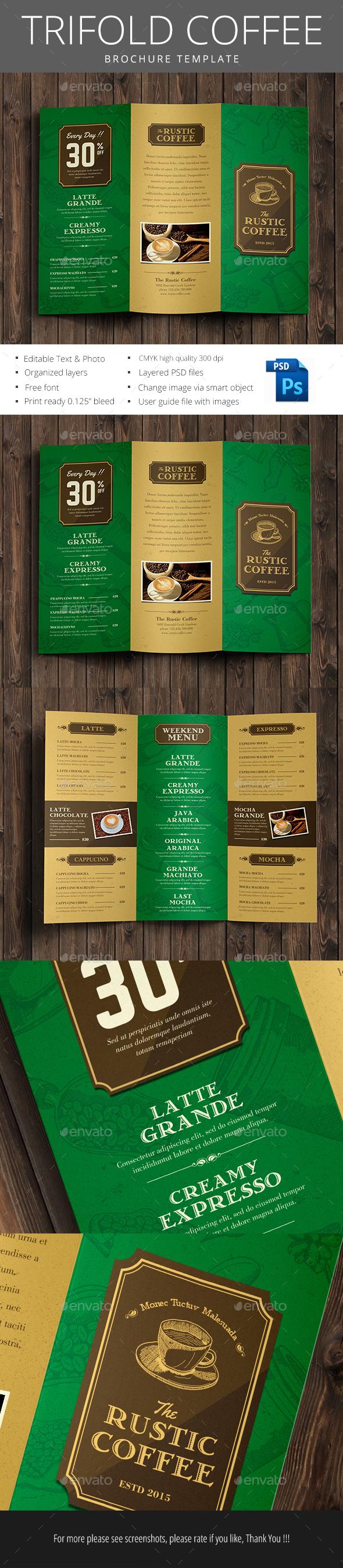 Tri Fold Coffee Brochure - Brochures Print Templates