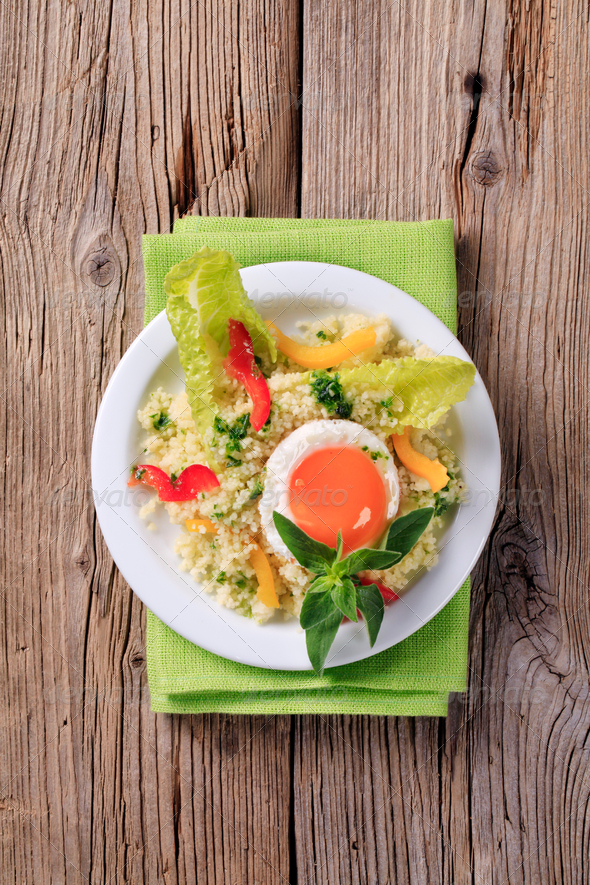 Couscous and fried egg - Stock Photo - Images