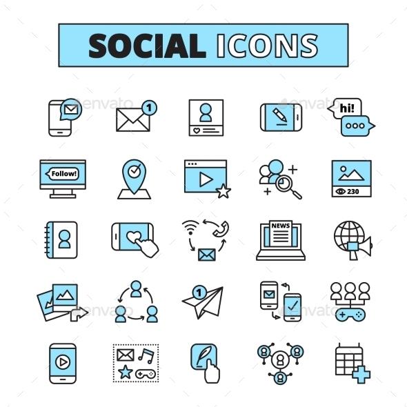 Social Media Line Icons Set - Media Icons