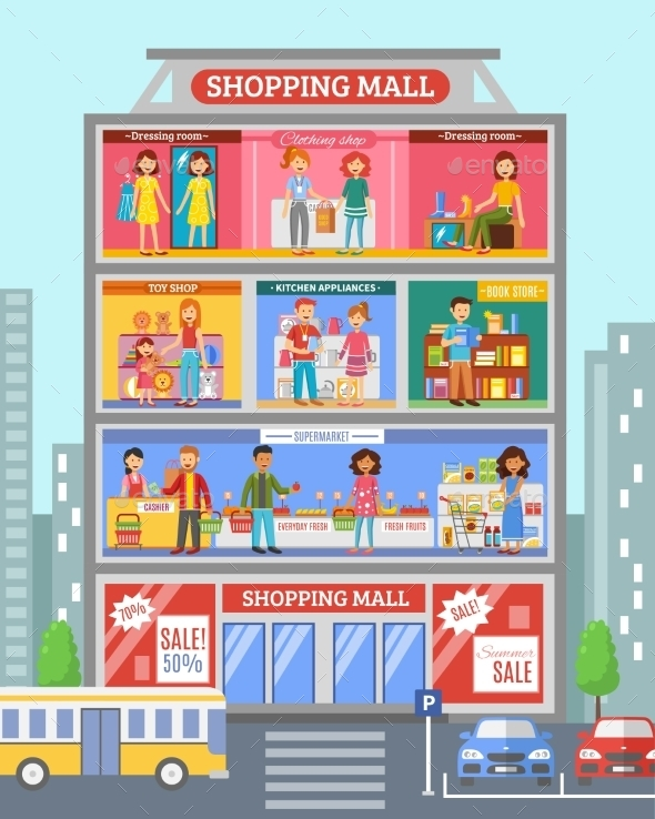Shopping Center Desingn Flat Banner - Commercial / Shopping Conceptual