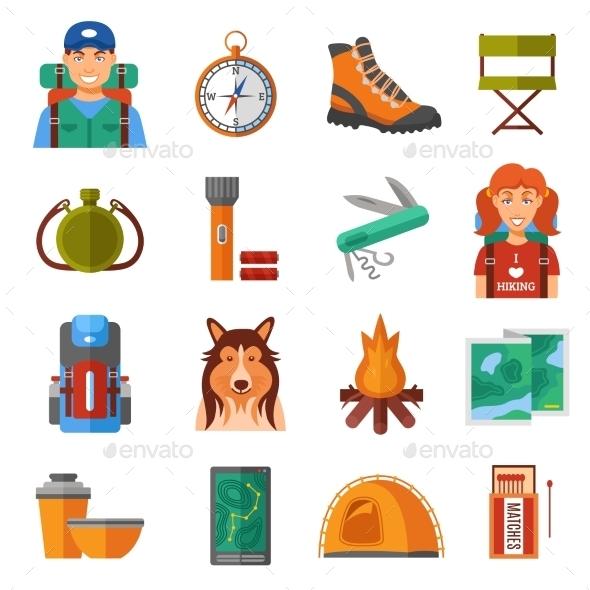 Hiking Flat Color Icons Set  - Decorative Symbols Decorative