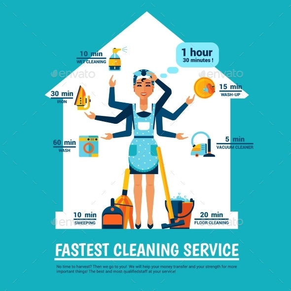 Woman Cleaning Vector Illustration - Decorative Symbols Decorative